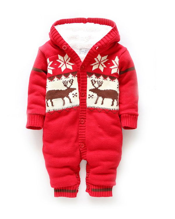 Berserk Kiabi baby clothes newborn baby children wear coveralls winter coat Korean version of elk Romper - Taobao