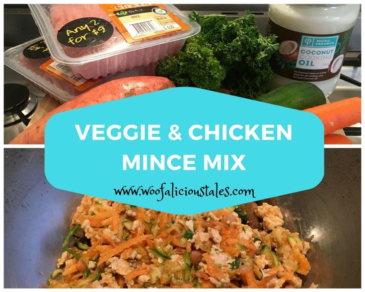 Here's one of Billy's favourite recipes.  Enjoy. http://www.woofalicioustales.com/veggie-chicken-mince-mix/