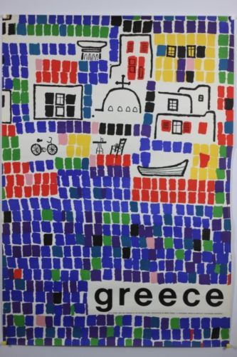 Greece Original Mid Century Travel Poster 1963