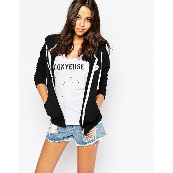 Converse Zip Up Hoodie With Small Front Logo Tracksuit (285 SAR) ❤ liked on Polyvore featuring tops, hoodies, converseblack, converse hoodie, white zip up hoodies, cotton hooded sweatshirt, sweatshirt hoodies and cotton hoodie
