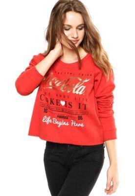 Moletom Coca-Cola Jeans Foil Vermelho