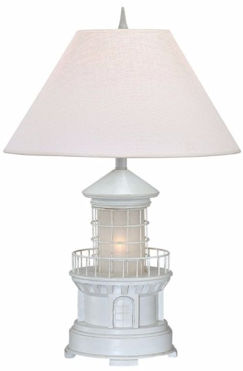 White Lighthouse Table Lamp with Night Light. Featured on Completely Coastal.