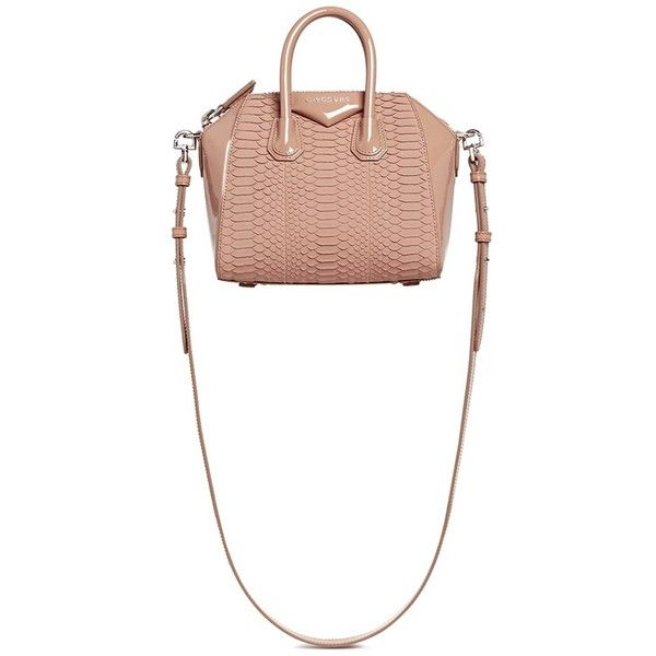Givenchy 'Antigona' mini python panel patent leather bag ($4,070) ❤ liked on Polyvore featuring bags, handbags, neutral, mini handbags, snake print handbag, snakeskin purse, white handbags and patent leather handbags