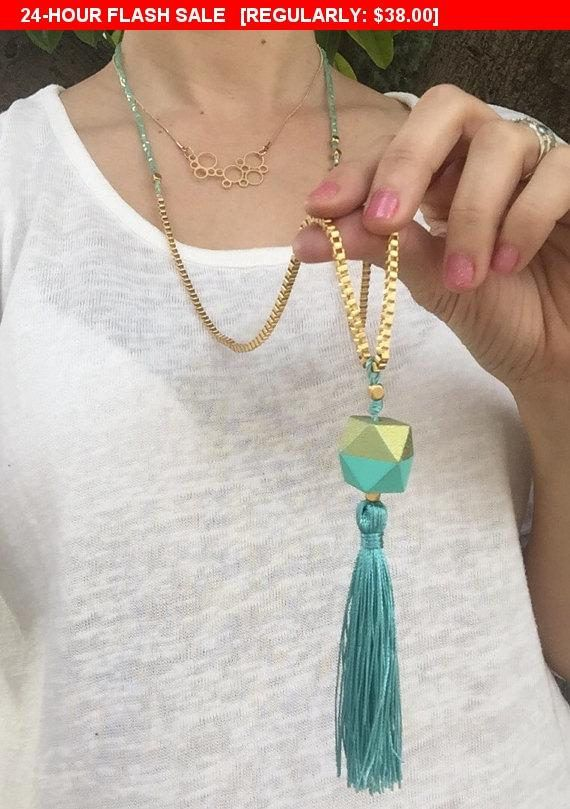 Fallsale2017 20%off Long tassel necklace , mint #jewelry #necklace @EtsyMktgTool http://etsy.me/2xHWvbn