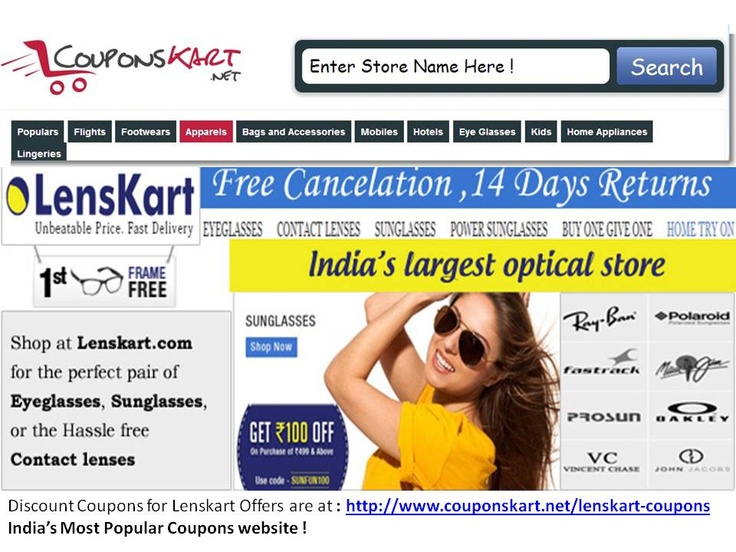 http://www.couponskart.net/lenskart-coupons Get discount on sunglasses , contact lenses , eye frames,shades , avaitors online in India at Couponskart.com !