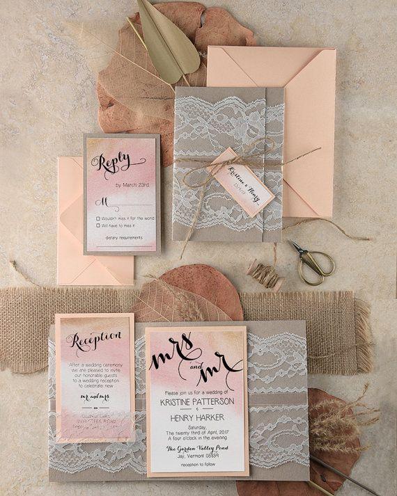 Boho Wedding Invitations (20), Ombre Watercolor Wedding Invites , Romantic Lace Invitation, Pink Lace Invitation, Peach Eco Grey Invitations