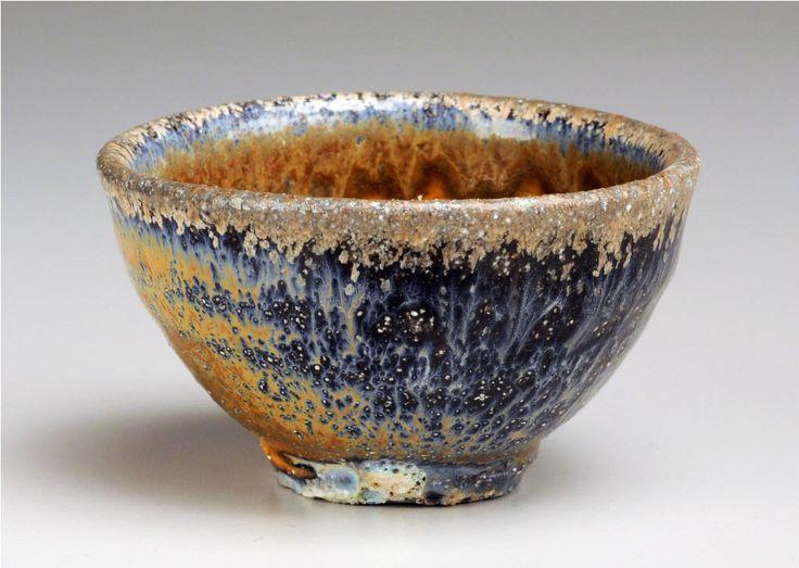 Peter Callas     Natural Ash Sake Cup w/ Blue.