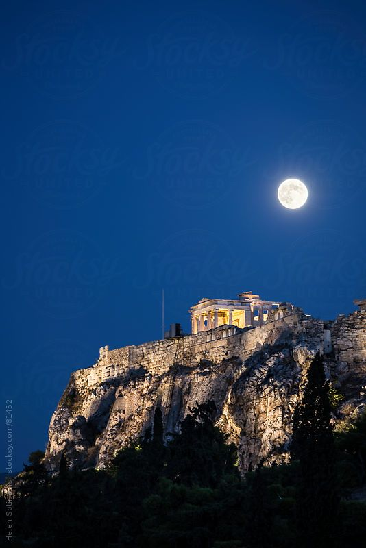 VISIT GREECE  The full moon over the #Acropolis in #Athens, #Greece by Helen Sotiriadis