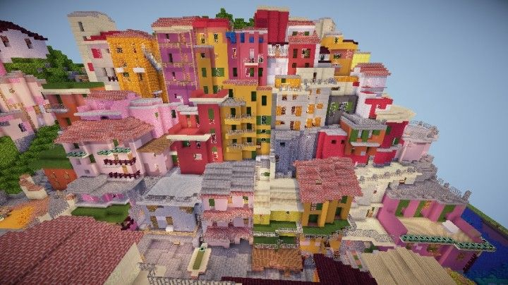 A cinque terre Manarola in Italy minecraft colorful city building plans. Ami has been somewhere like here in real life.