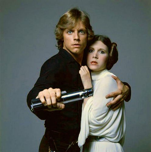 Luke Skywalker (Mark Hamill) with Princess Leia (Carrie Fisher)