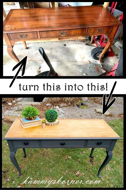 Kammy's Korner: Console Table Makeover {Upcycle A Purse Strap!} Refinished wood top, black/gray chalk paint bottom with black purse strap repurposed into drawer pulls with thumb tacks. #refinishedfurniture