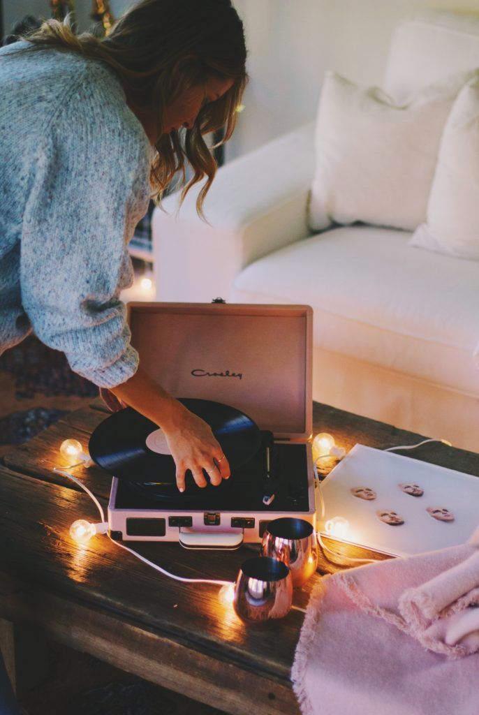 blush pink record player