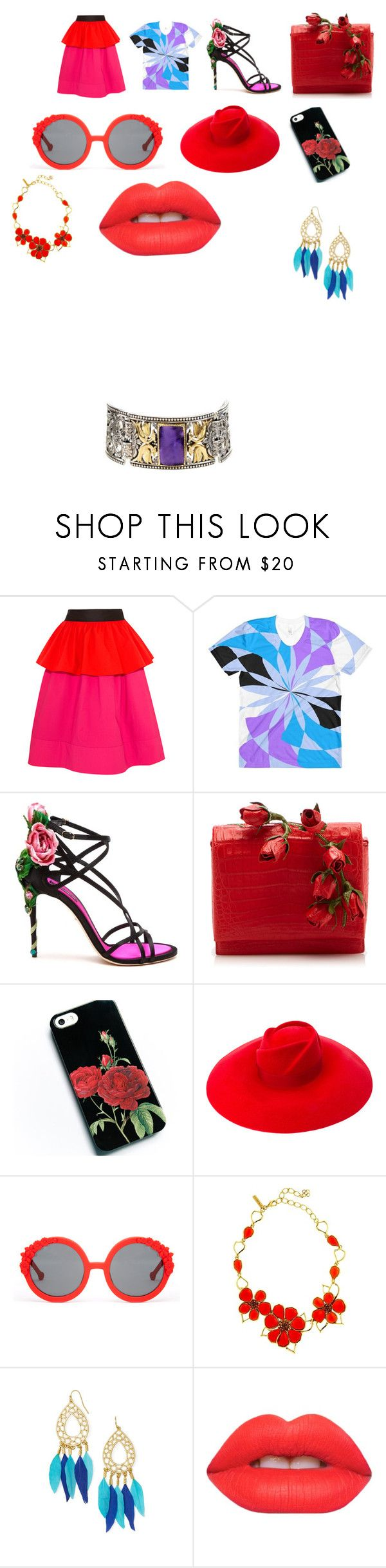 """""""colors"""" by chianna-rodgers ❤ liked on Polyvore featuring Isa Arfen, Dolce&Gabbana, Nancy Gonzalez, Gucci, Preen, Oscar de la Renta, BaubleBar, Lime Crime and Konstantino"""