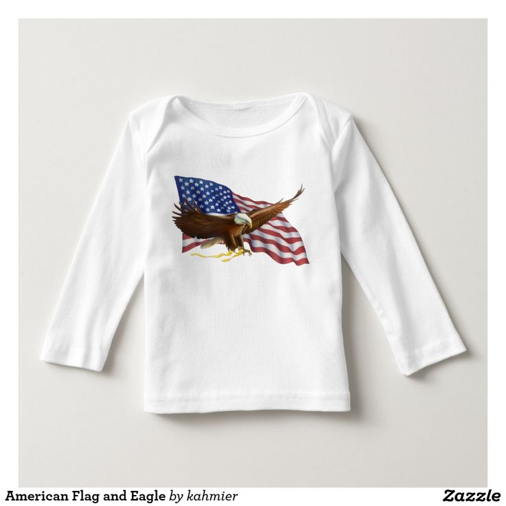 American Flag and Eagle Baby American Apparel Long Sleeve T-Shirt