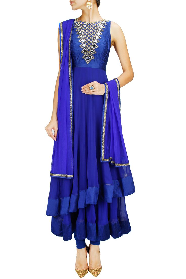 Royal blue two-layered mirror work anarkali set BY ARPITA MEHTA.