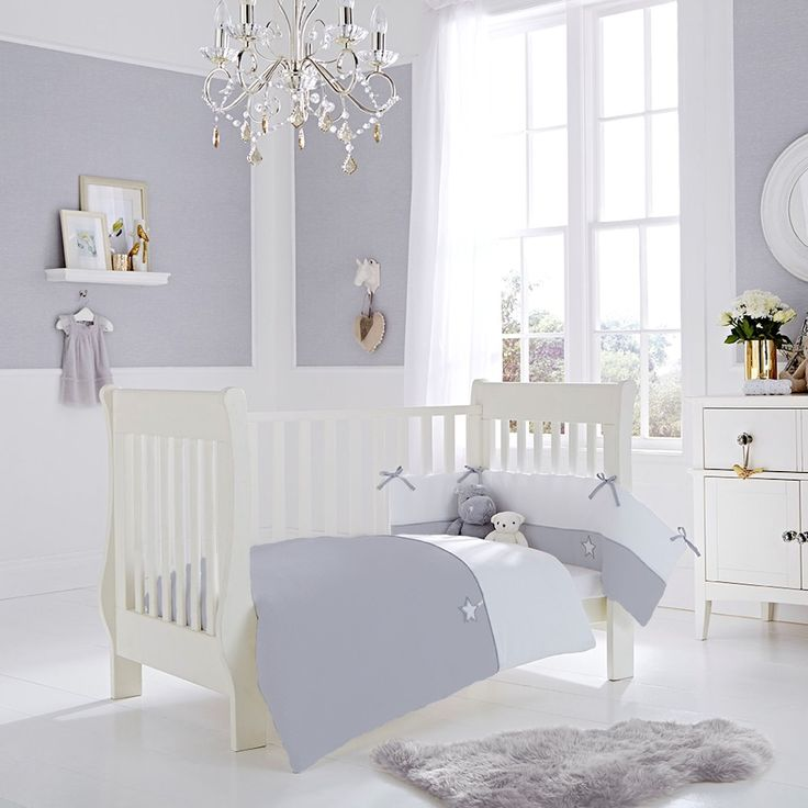 CLAIR DE LUNE COT / COT BED TWO PIECE QUILT AND BUMPER SET GREY SILVER LINING