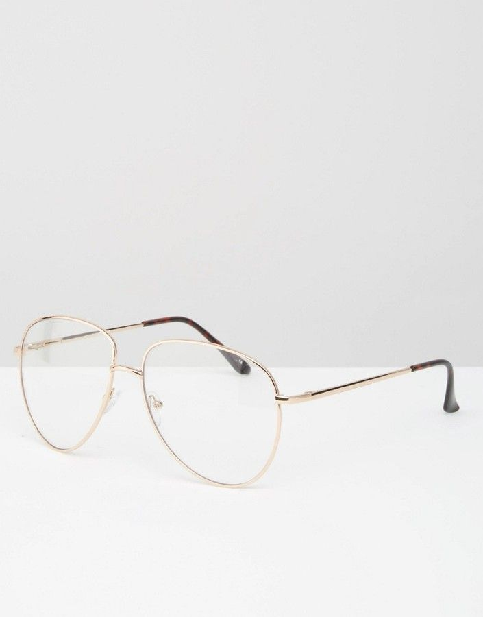 Asos Geeky Metal Frame Clear Glasses on Shopstyle.