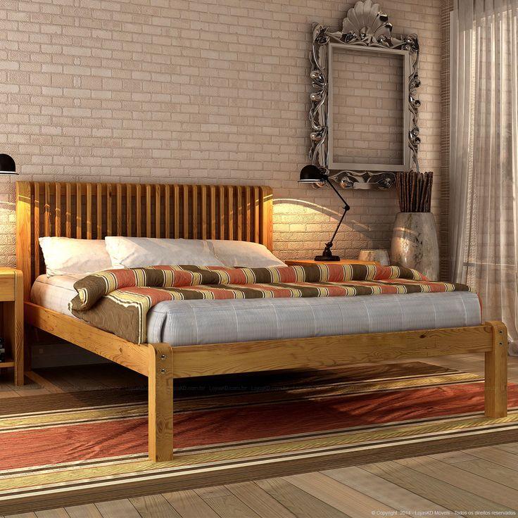 Cama Casal Fervenza em Madeira Maciça 100 x 148 x 206 Cera Mel - Urbe Móveis | Lojas KD