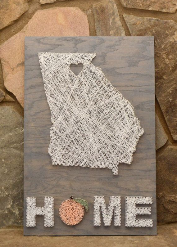 Custom Wood Georgia HOME Sign, String Art, Home Decor, Office Decor, Wood Decor