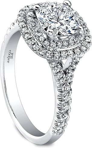 Jeff Cooper Double Halo Diamond Engagement Ring : This beautiful diamond engagement ring setting by Jeff Cooper features round brilliant cut diamonds pave set in a double halo around the center stone of your choice as well as down a split shank.