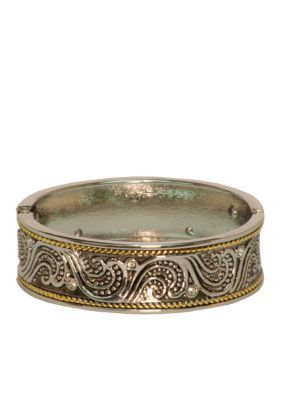 Kim Rogers  Boxed Two Tone Scroll Design Bangle - Two Tone - One Size