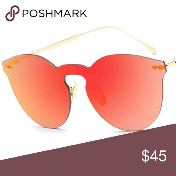 Red orange mirror frameless sunglasses  Brand new boutique item   Chic fashion rimless frameless mask sunglasses  Available in pink/rose gold, blue, brown, black, silver, red/orange, and dark gray/grey. See my closet for the other listings.   Illesteva brand for exposure only  Some photos are my own, please do not steal.   If you have any questions, please do ask!        Flovvers Boutique Illesteva Accessories Glasses