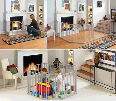 Toddler fireplace safety gates and extra wide play fences. Keep your kids safe with a safety for around your fireplace, wood burning stove or barbecue or just use it to corral them in to a safe zone while they play.