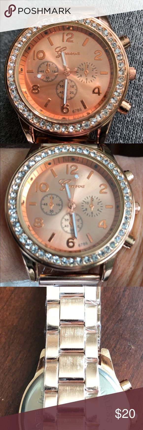 Brand new Classic Round CZ Ladies Watch Brand new still has wrapping Bling Jewelry Plated Classic Round CZ GENEVA Ladies Watch Color is ROSE GOLD Geneva Accessories Watches