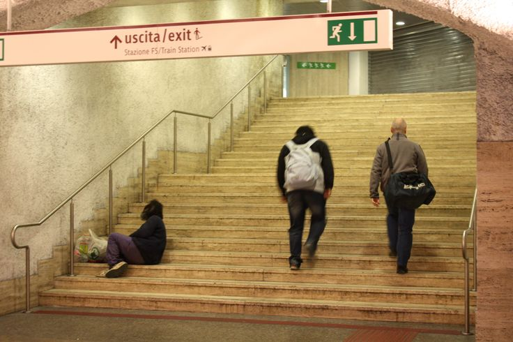 For some, there is no exit from poverty: at Termini Station in Rome, sights like this are all too common –  travelers frequently exit the metro, offering no assistance to the homeless people that seek shelter in the station.
