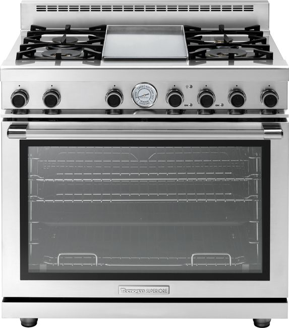"""Range NEXT 36"""" Panorama in stainless steel 4 gas, griddle and extra-large gas oven equipped with 4 convection fans and broiler."""