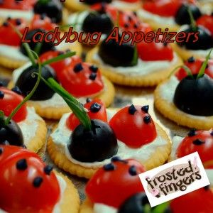 Ladybug Appetizers Recipe via  Frosted Fingers  http://frostedfingers.com/2012/03/ladybug-appetizers-recipe/