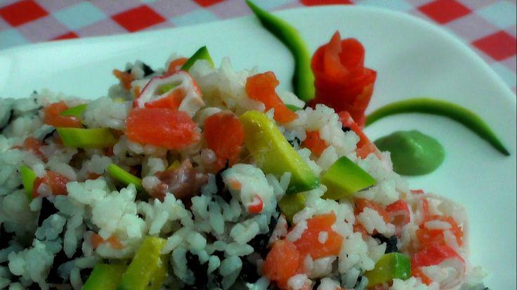 Салат роллы/Салат ЛЕНИВЫЕ РОЛЛЫ/Салат из красной рыбы/Salad with red fis...