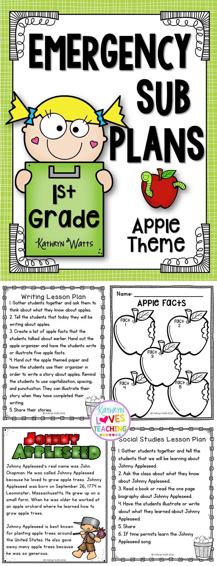 1st Grade Emergency Sub Plans Apple Theme  Here are Emergency Sub plans when you have to call out unexpectedly. These Emergency Sub Plans includes lesson plans and practice sheets for an entire day to keep your students busy and having fun. All you need to do is print and copy.