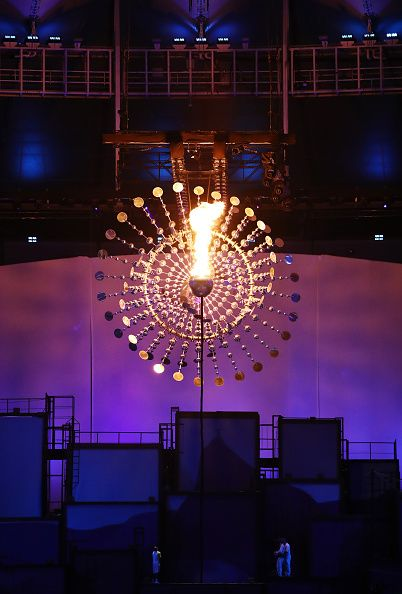 #RIO2016 The Olympic Cauldron is seen lit during the Opening Ceremony of the Rio 2016 Olympic Games at Maracana Stadium on August 5 2016 in Rio de Janeiro...