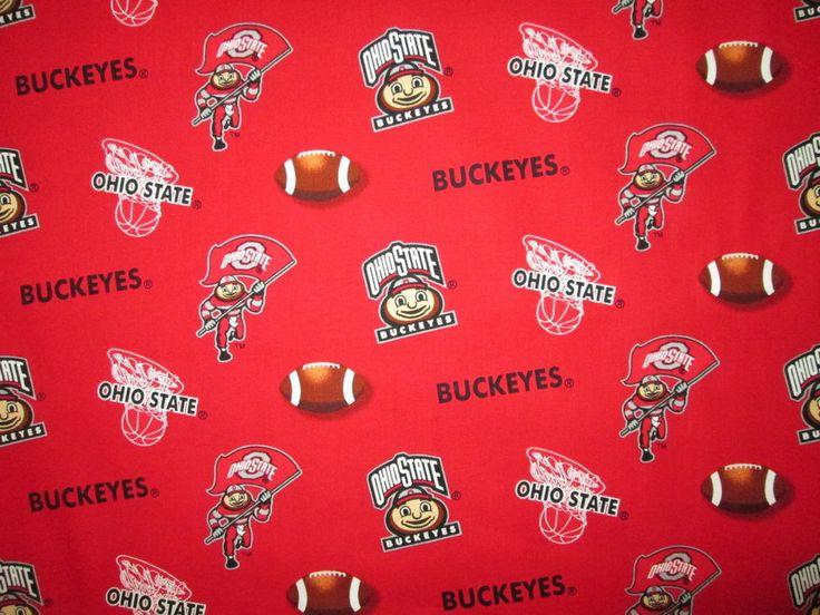 OHIO STATE UNIVERSITY BUCKEYES OSU RED COTTON FABRIC FQ  | Crafts, Fabric | eBay!