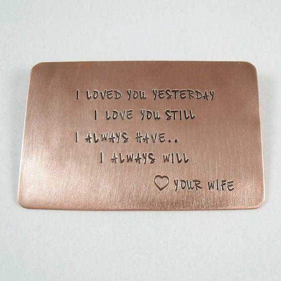 Wedding Gift Ideas For Men: Personalized Copper Wallet Insert
