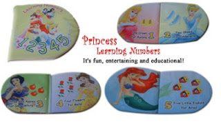 Judul: Princess Learning Numbers. Ukuran tertutup : 16 x 16 cm Halaman: 6 hal isi + 2 hal sampul  Buku kain untuk membantu anak-anak belajar angka dan berhitung 1-5.   Softbook yang disertai dengan gambar Disney Princess yang memikat, colorful & menyenangkan. It's fun, entertaining and educational!