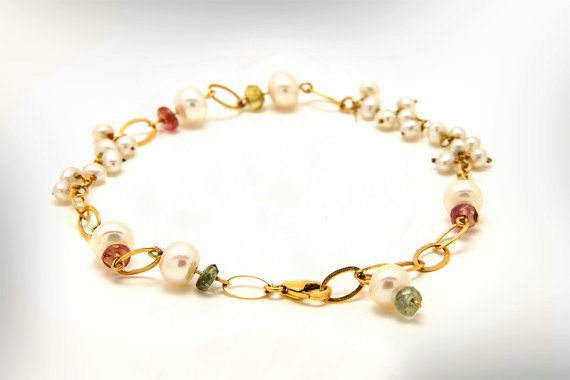 Stone Beads Delicate Gold Bracelet, Pearls and Tourmaline Stone Bracelet, Colorful Bracelet, Gift for Mom, Women's dainty links bracelet
