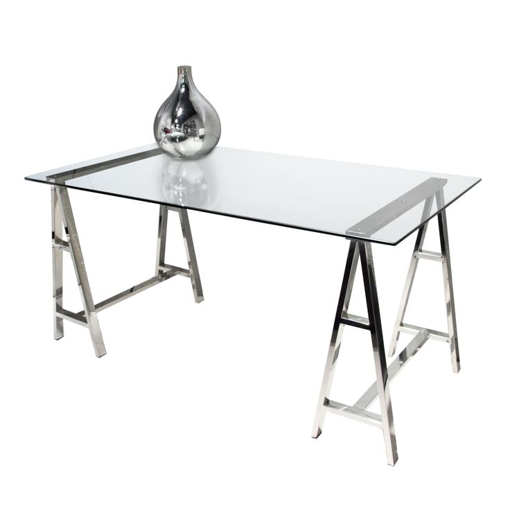 59 clear glass stainless sawhorse style office desk - Designer Glass Desk