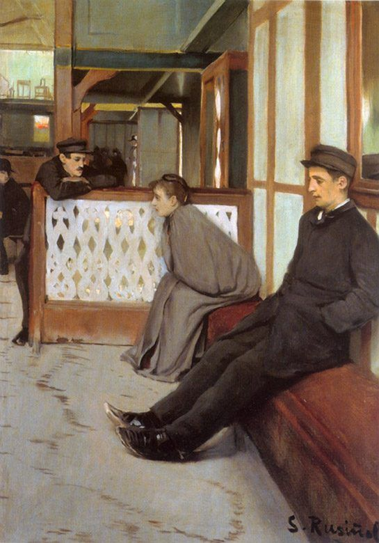 Santiago Rusiñol - (1861–1931) «Waiting for customers (Moulin de la Galette)» 1890s