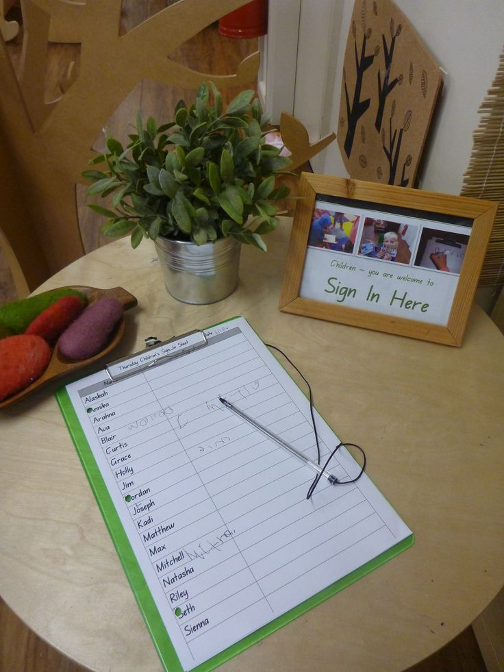 The children's sign in-area at Pied Piper preschool sits alongside the adult's sign-in area.