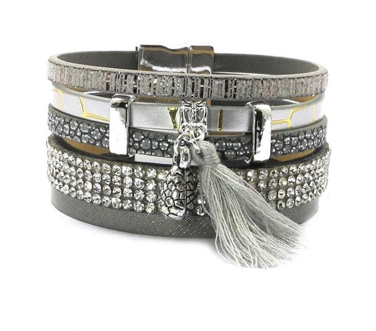 Gray Leather Bracelet                      – Pink Fox Company