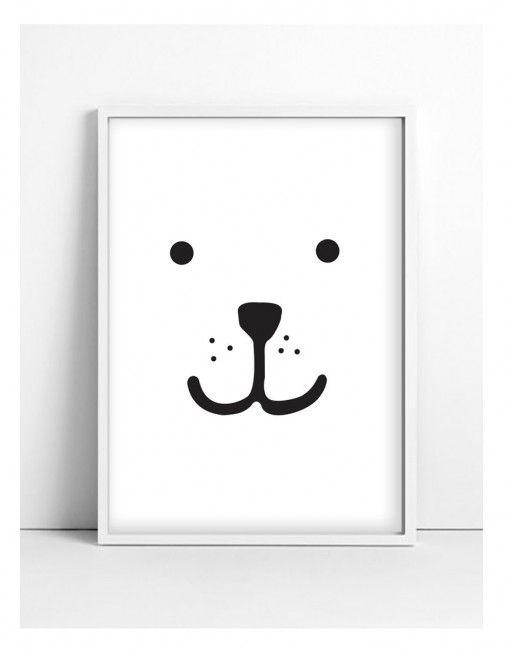 Nursery Illustration – Animal Print – Teddy black | www.tellkiddo.com