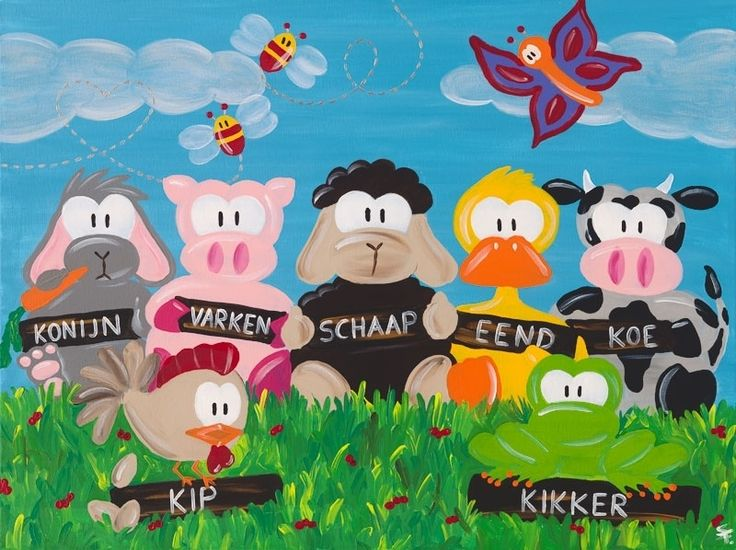 Kinderschilderij Beessies Boerderij dieren 80 x 60cm