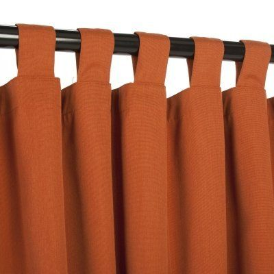 Sunbrella Outdoor Curtain with Tabs - Rust - 54 in X 120 in by Sunbrella. $129.99. Width:. Total Length:. Color:. Weight Capacity:. Material:. Hatteras Outdoors is now offering outdoor curtains made from Sunbrella fabric. The true and durable colors of the Sunbrella line will add distinction and a real flow to your outdoor surroundings. Ideal for porch, patio, gazebo or any other outdoor structures, our Sunbrella outdoor curtains are made to withstand the elements while o...