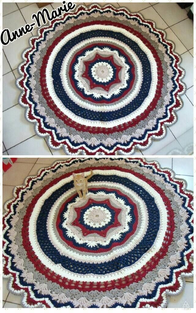 My mini rings of change t yarn rug. 1.7 meters. Free pattern http://www.ravelry.com/patterns/library/mini-rings-of-change