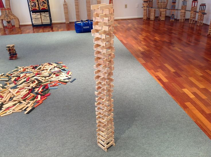 One tall 100 block tower for the three to five year old to build....and knock down #kids #parents #school #homeschool #K12 #blocks