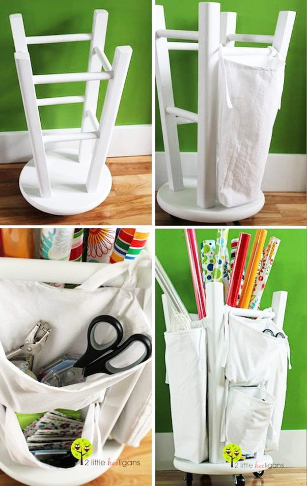 DIY Craft Room Ideas and Craft Room Organization Projects -  Wooden Stool into a Tool and Crafts Organizer  - Cool Ideas for Do It Yourself Craft Storage - fabric, paper, pens, creative tools, crafts supplies and sewing notions |   http://diyjoy.com/craft-room-organization