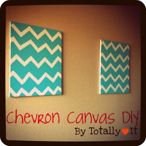 So cute!  #DIY #Chevron Canvas #Canvas #Decor #Living room decor #Bedroom decor #Crafts