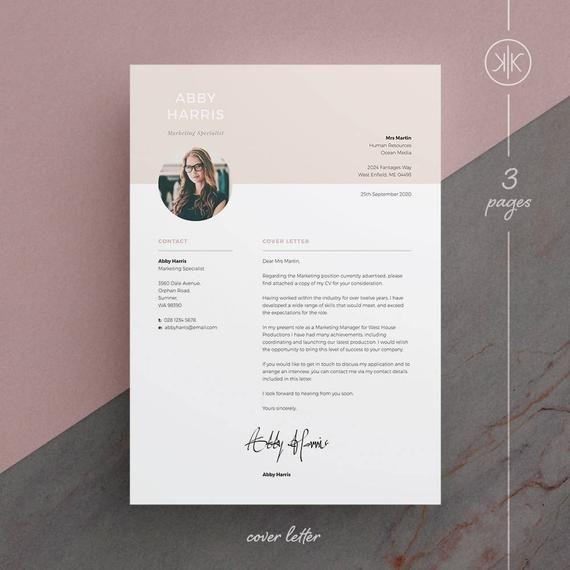 Abby Resume Cv Template Word Photoshop Indesign Etsy Resume Design Cv Template Word Resume Design Free